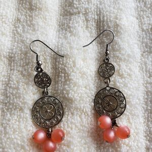 Peach and Silver Earrings